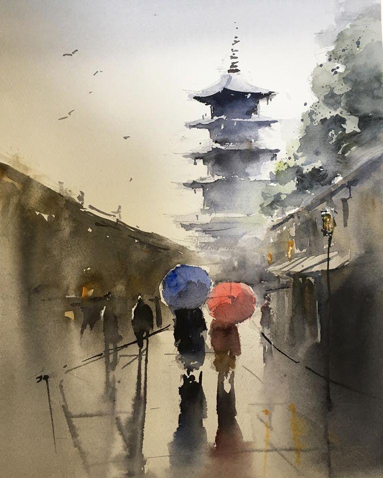 雨の日に(京都・八坂の塔)