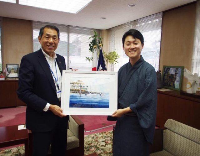 逗子市長室に水彩画贈呈(2019年)